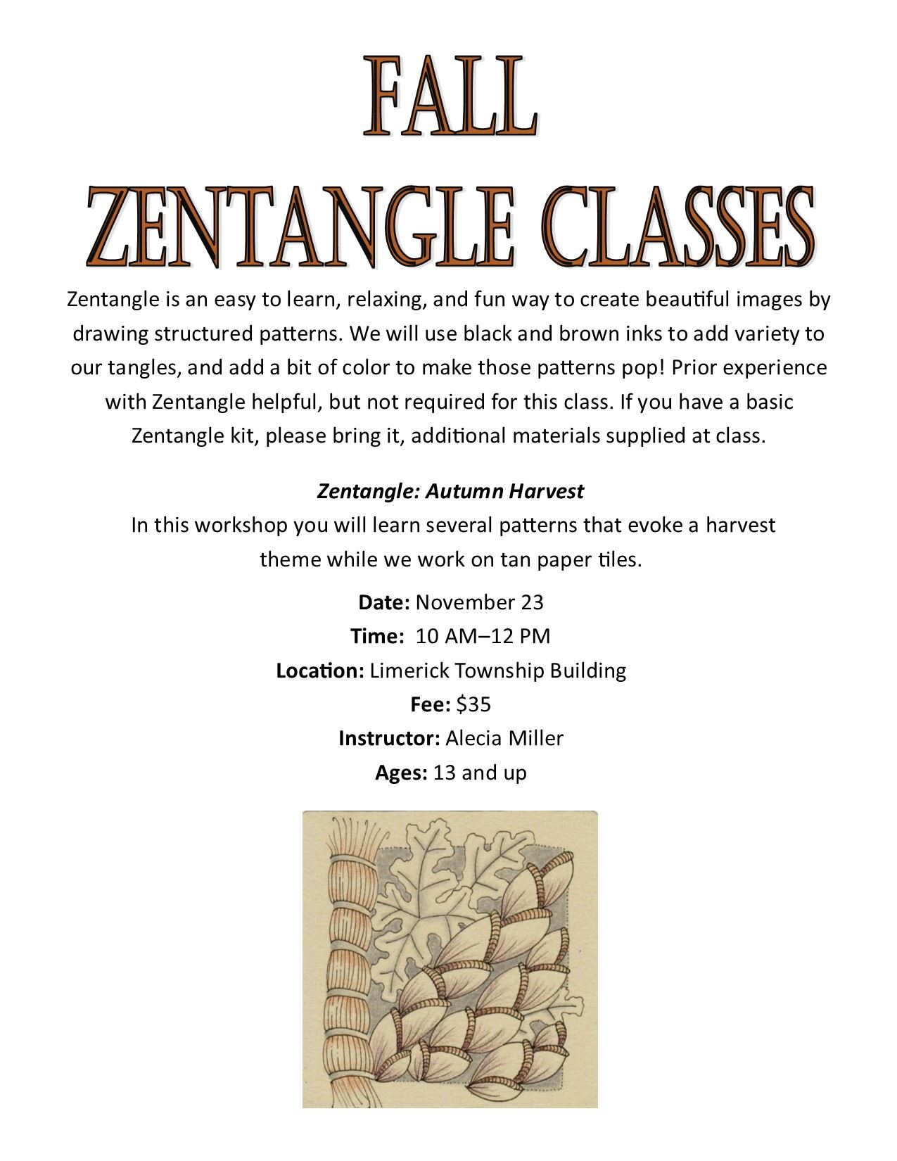 Fall Zentangle Program
