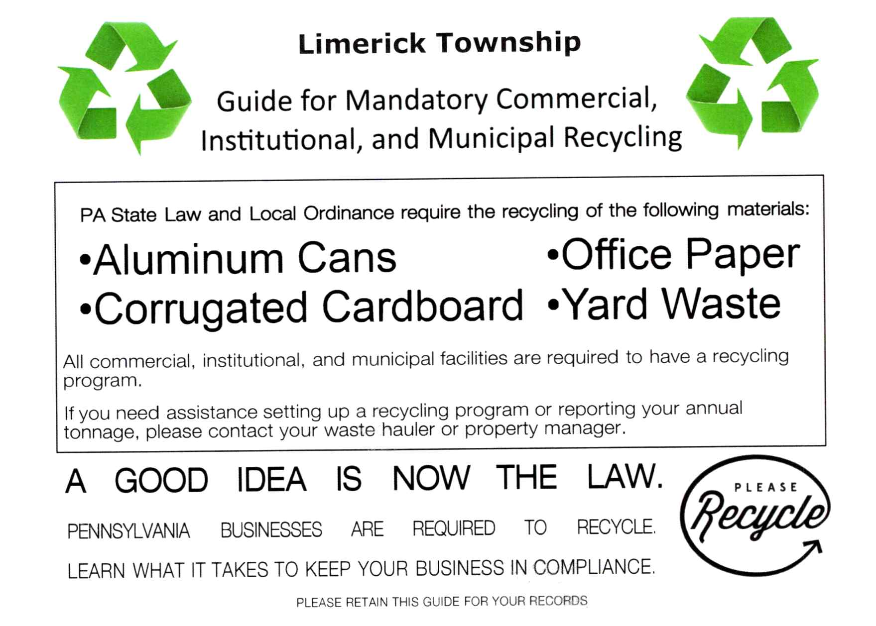 Recycling Postcard - Sent to Commercial Entities in Limerick Twp
