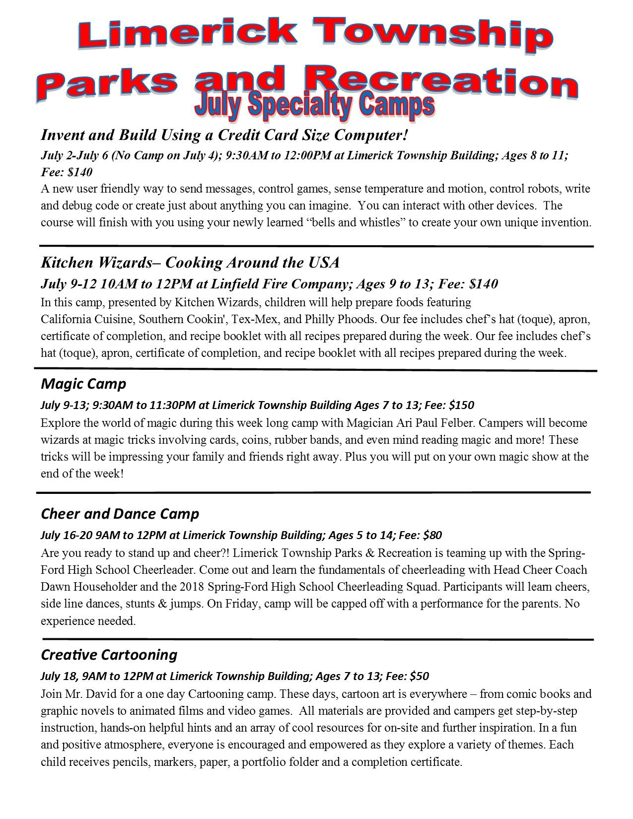 2018 July Specialty Camps