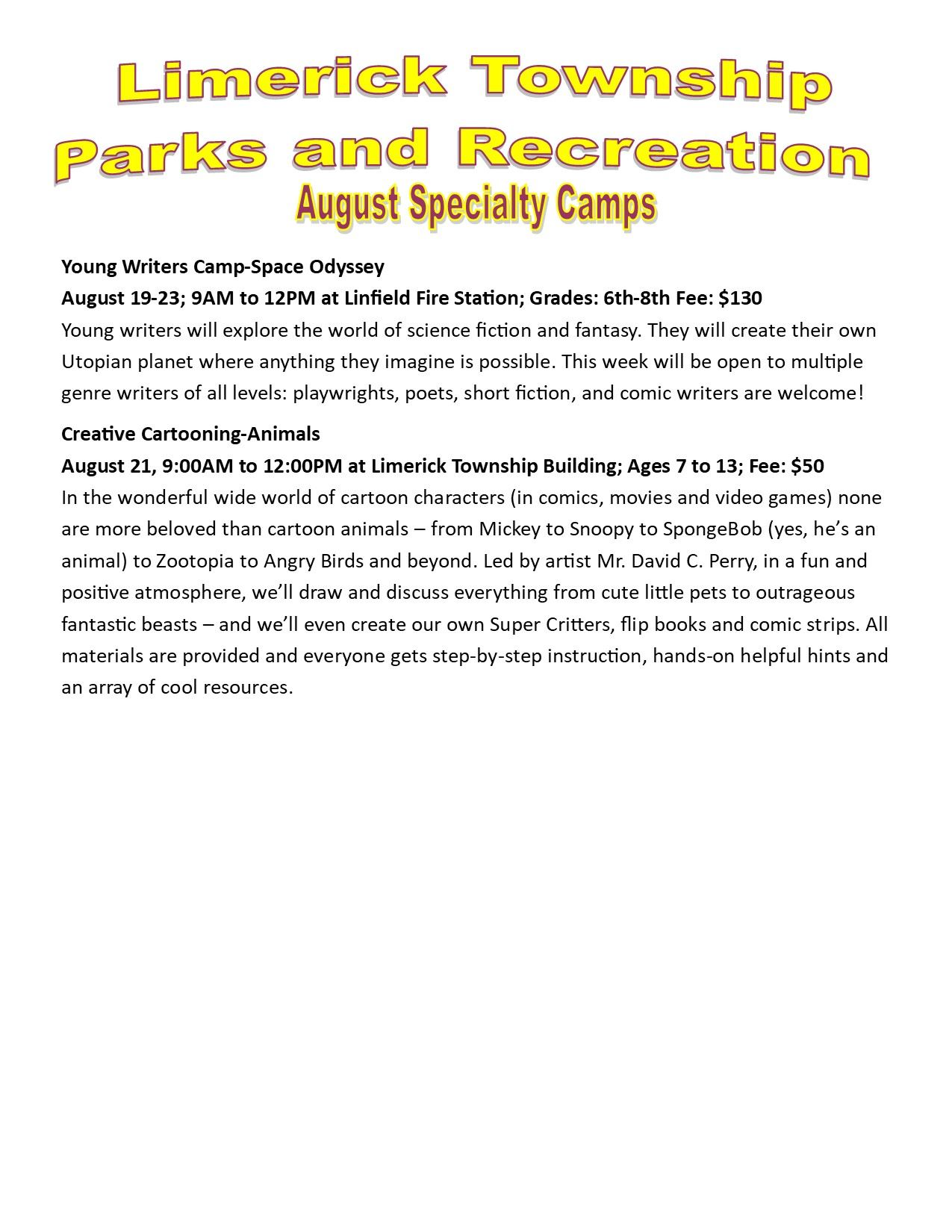 2019 August Specialty Camps 2