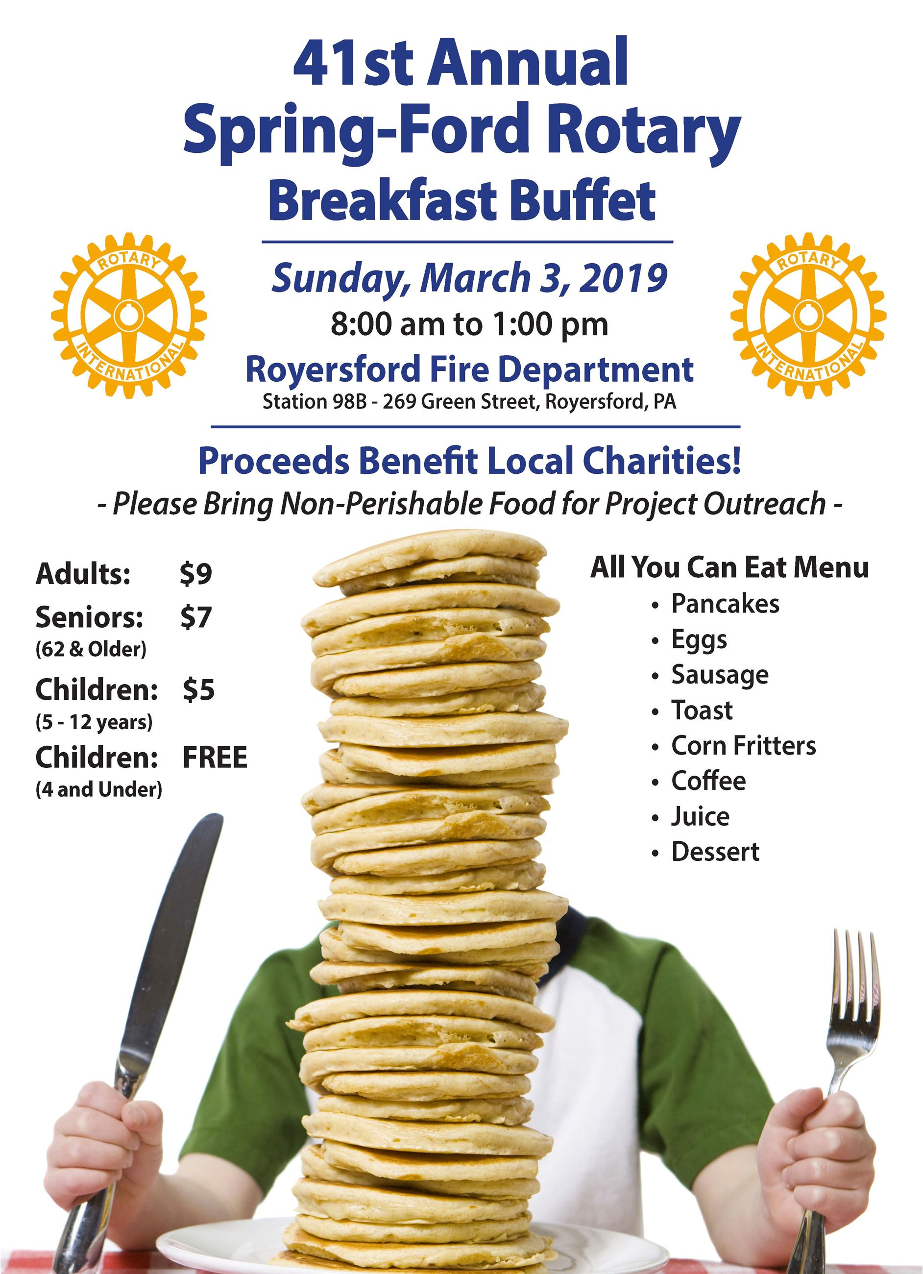 Spring-Ford Rotary Breakfast Buffet Flyer - March 3, 2019