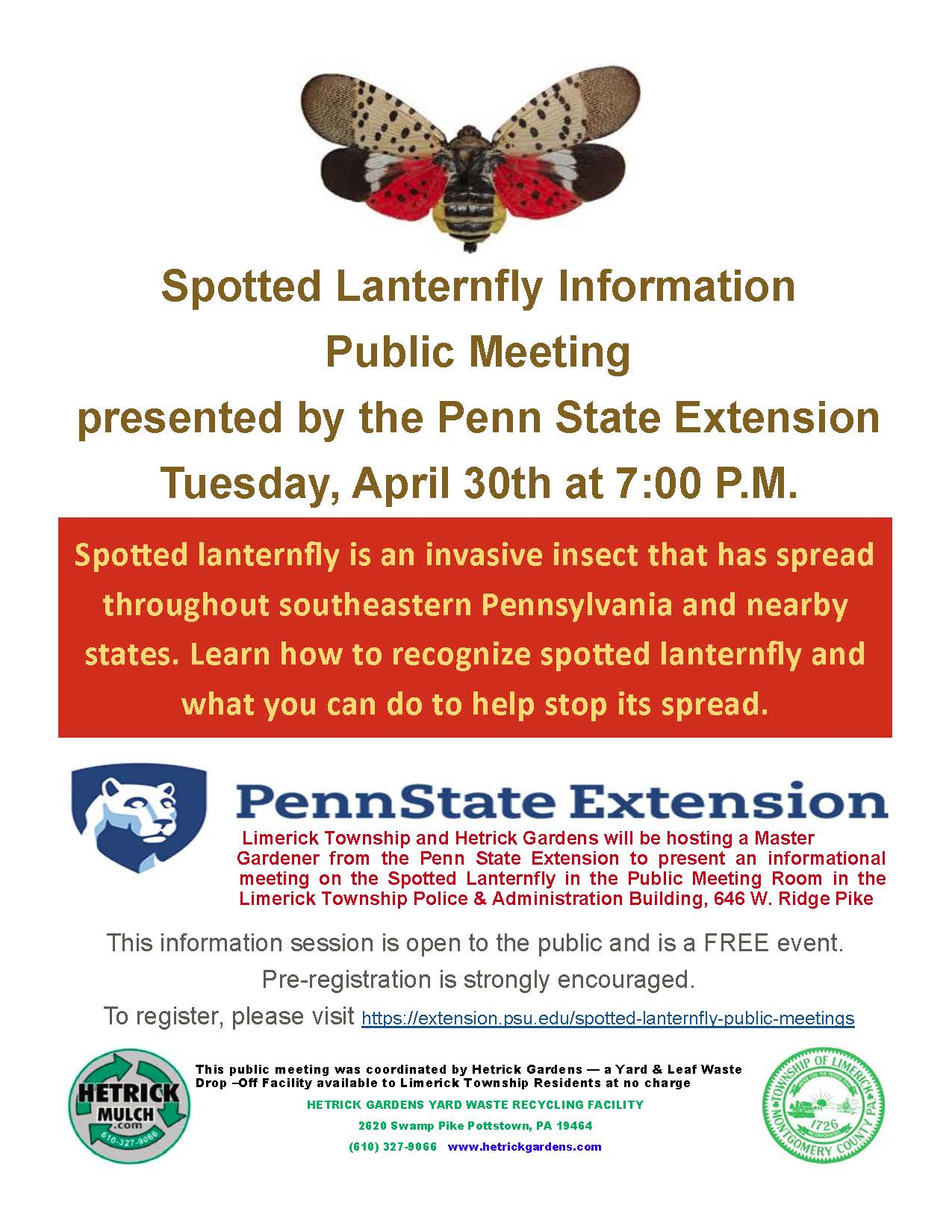 Spotted Lanternfly Meeting Flyer - April 30, 2019 at 7:00 PM