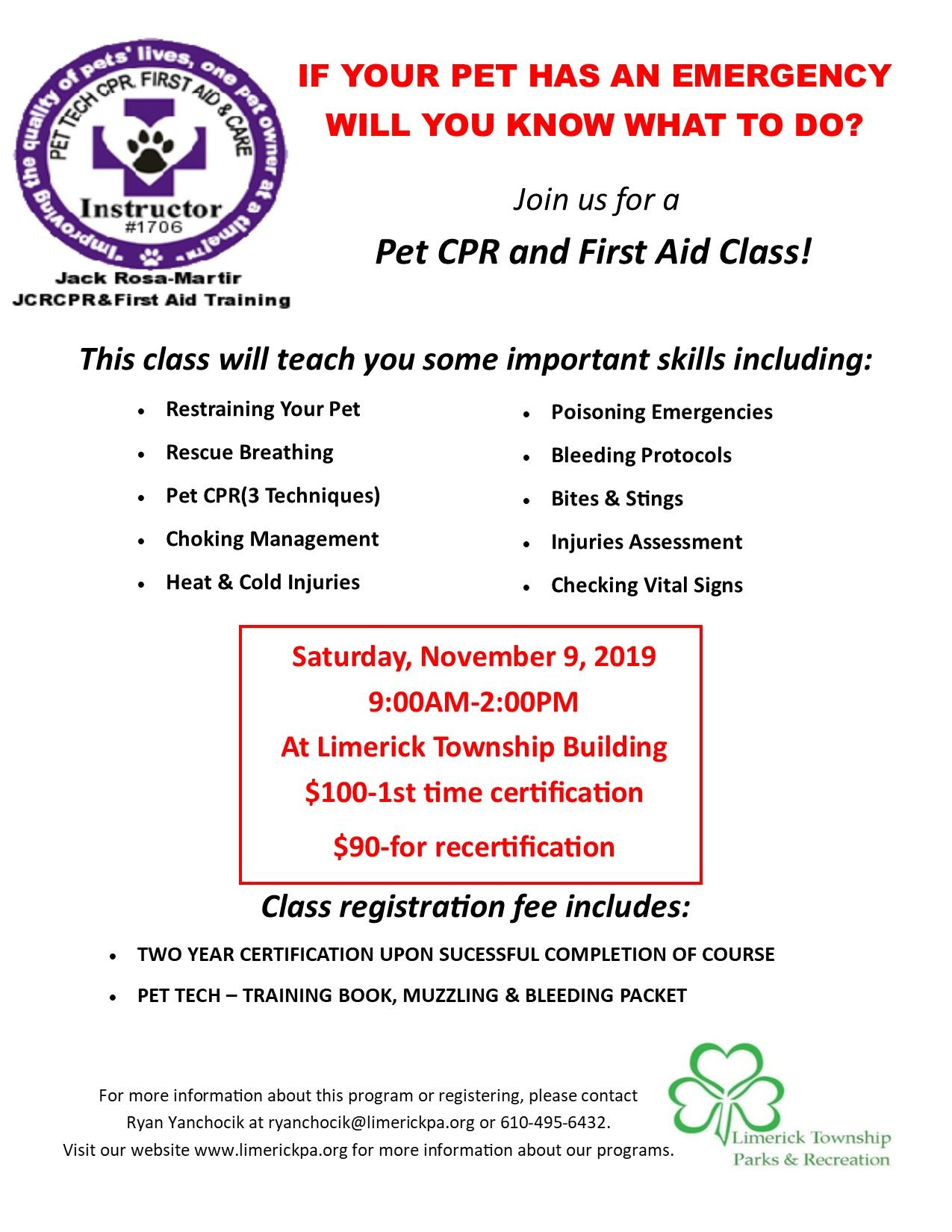 Pet First Aid Cert Course